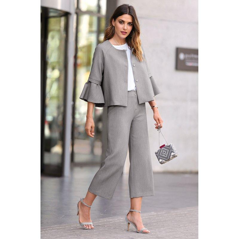 Pantalón corte culotte vestir de tejido elástico