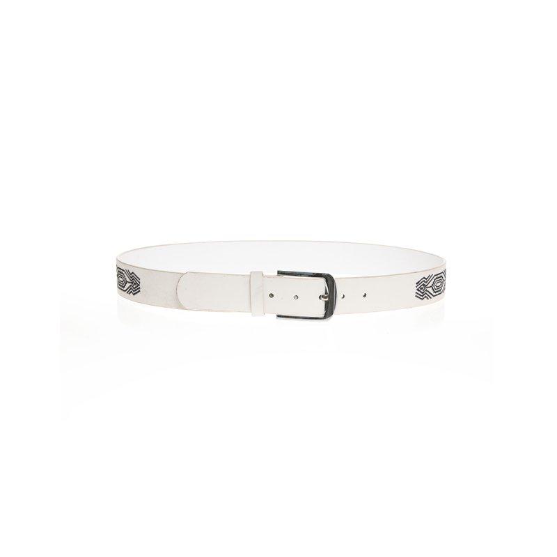Cinturón bicolor con pespuntes bordados
