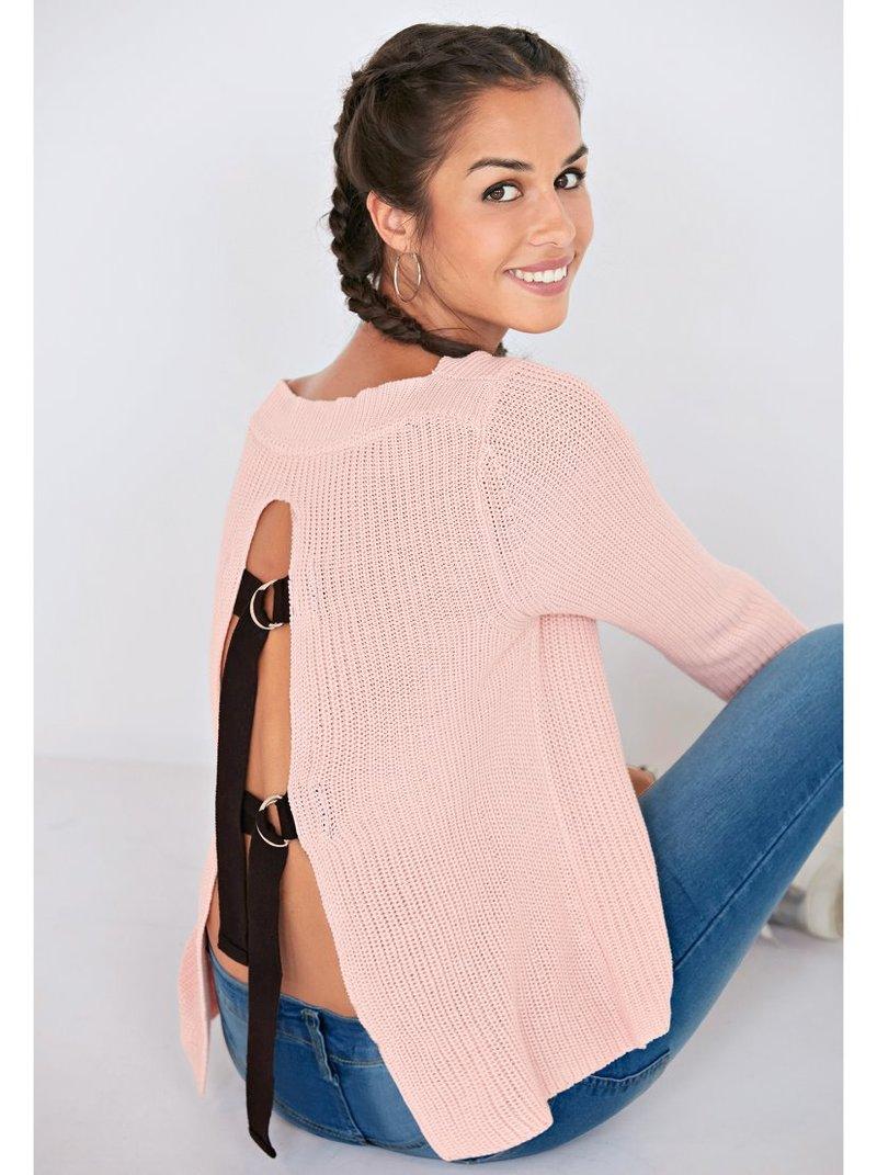 Jersey tricot abertura en espalda con anillas