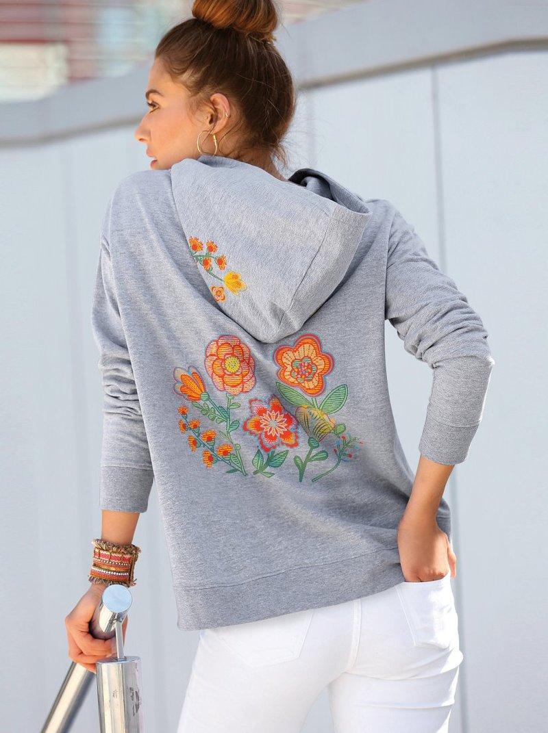 Sudadera estampada flores en capucha y espalda