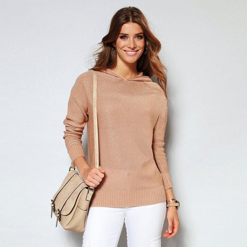 Jersey capucha tricotado con hilos metalizados