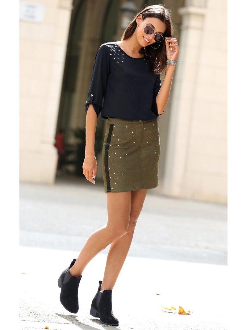 Falda corta tejido elástico con cinta galón