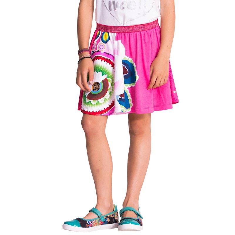 Falda niña estampado floral y lentejuelas
