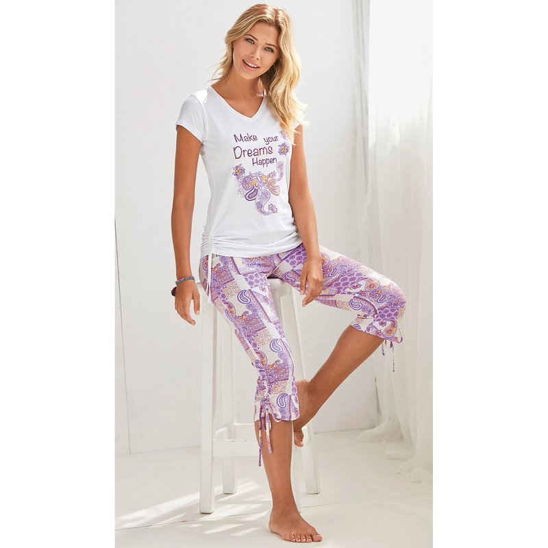 Pantalón corsario de pijama cachemira