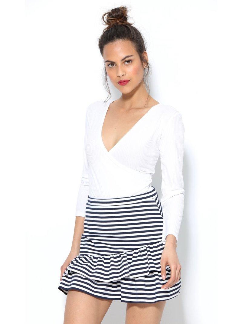 Falda de punto elástico con cintura plana a rayas con volant