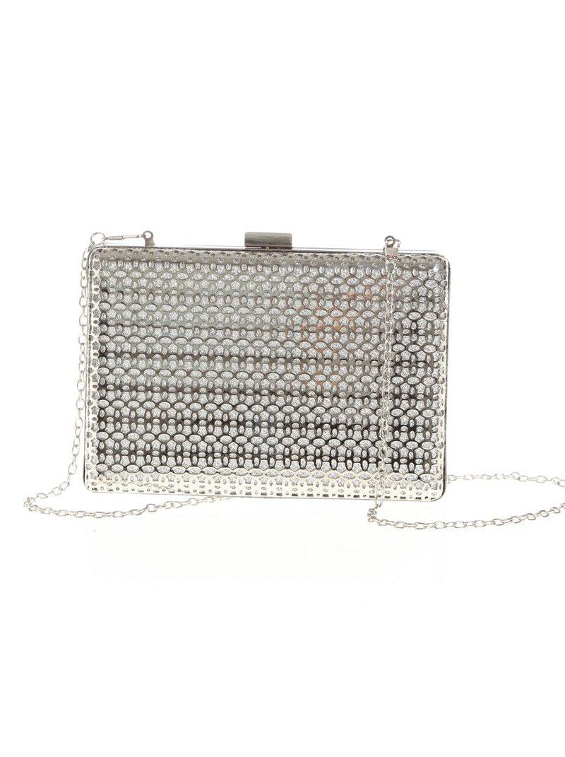 Bolso clutch rígido fiesta metálico con cadena