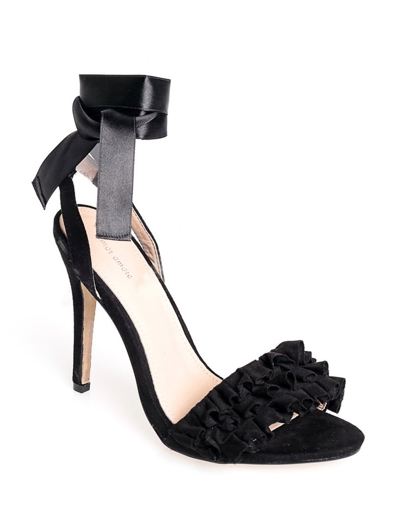 Sandalias de tacón alto con volantes
