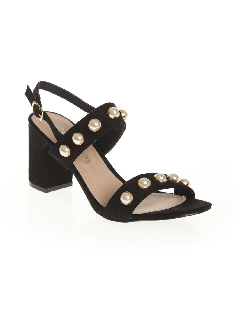 Zapatos sandalias de tacón cuadrado con perlas