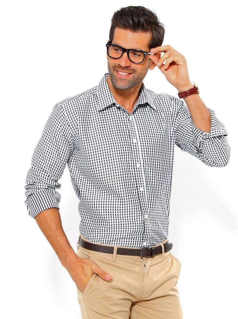 Camisa de hombre manga larga cuadros slim fit