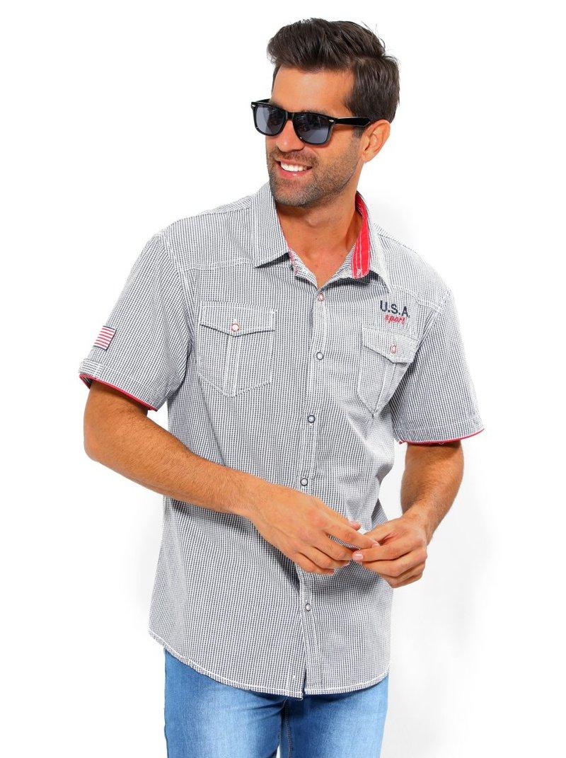 Camisa hombre manga corta con vivos