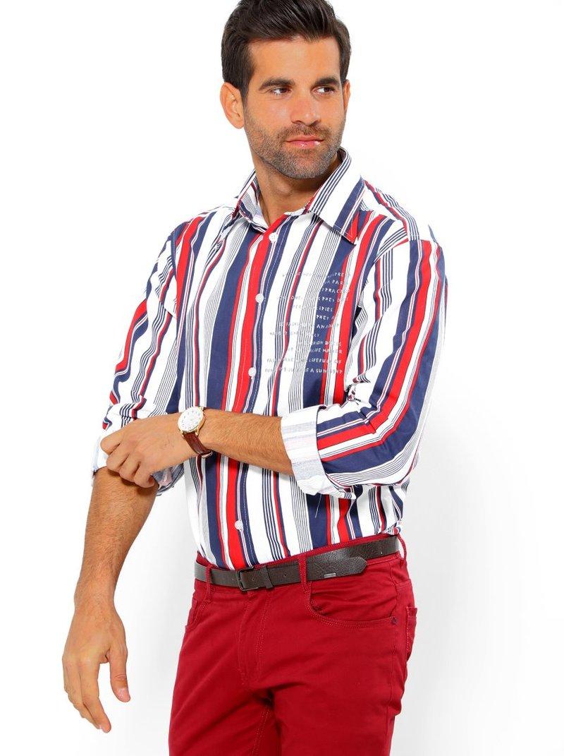 Camisa de hombre manga larga rayas estampadas