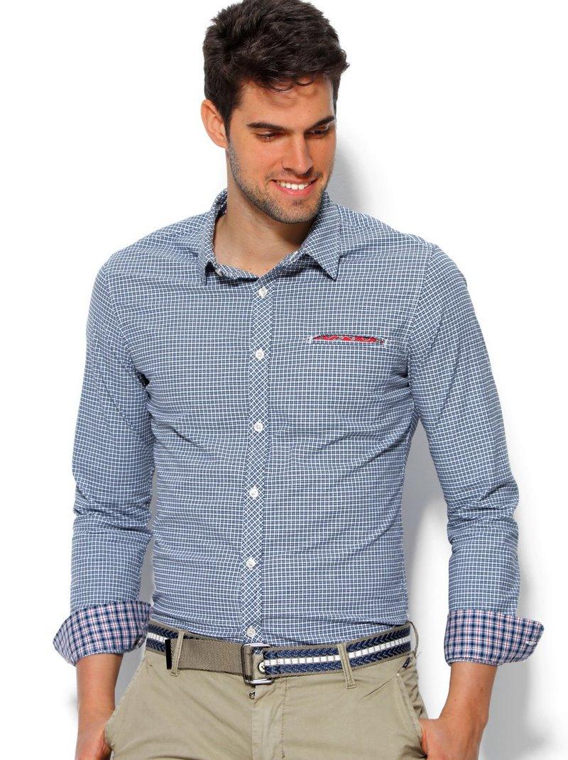 Camisa de hombre con puño de cuadros