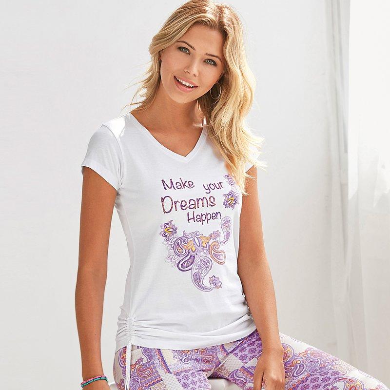 Camiseta pijama con estampado frontal fruncida