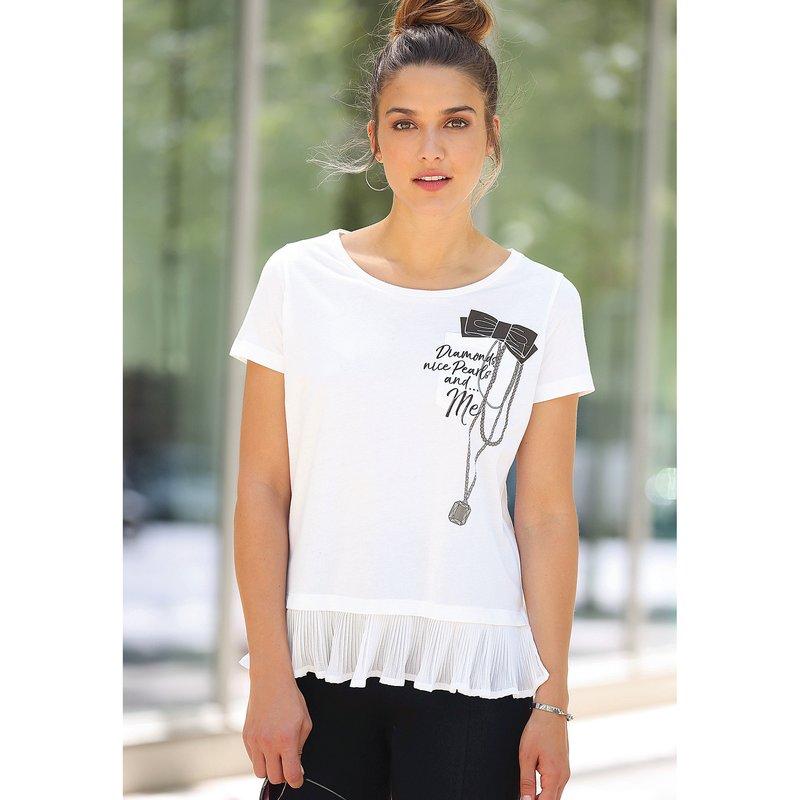 Camiseta de efecto doble con pieza plisada en el bajo