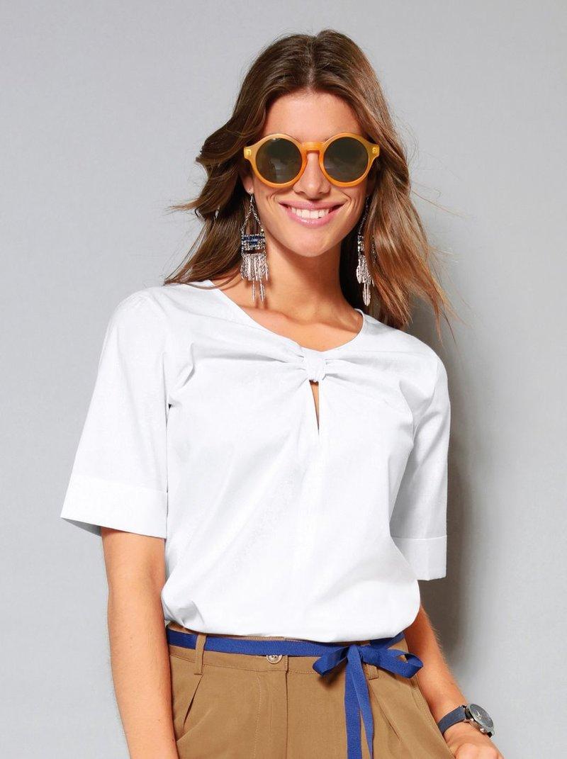 Blusa con pieza con forma de nudo en escote redondeado