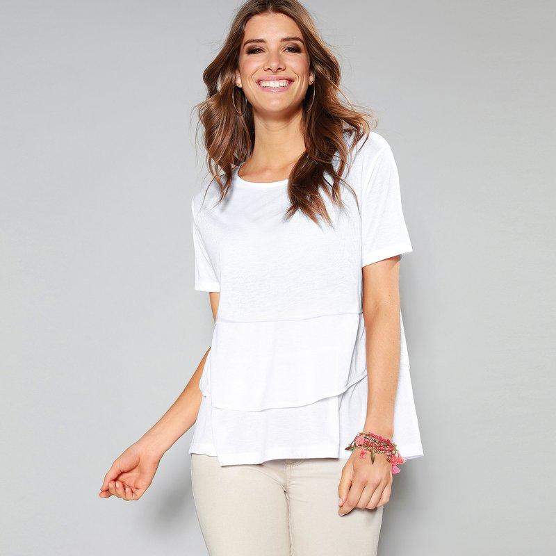 Camiseta mujer con paneles volantes asimétrico