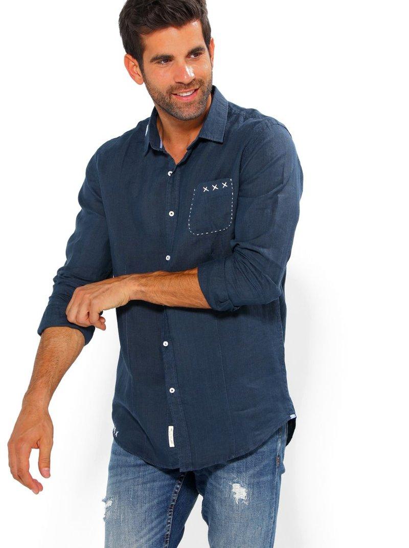 Camisa de hombre lino con bolsillo 100% ramio