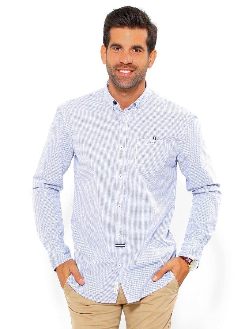 Camisa de hombre manga larga pequeños cuadros