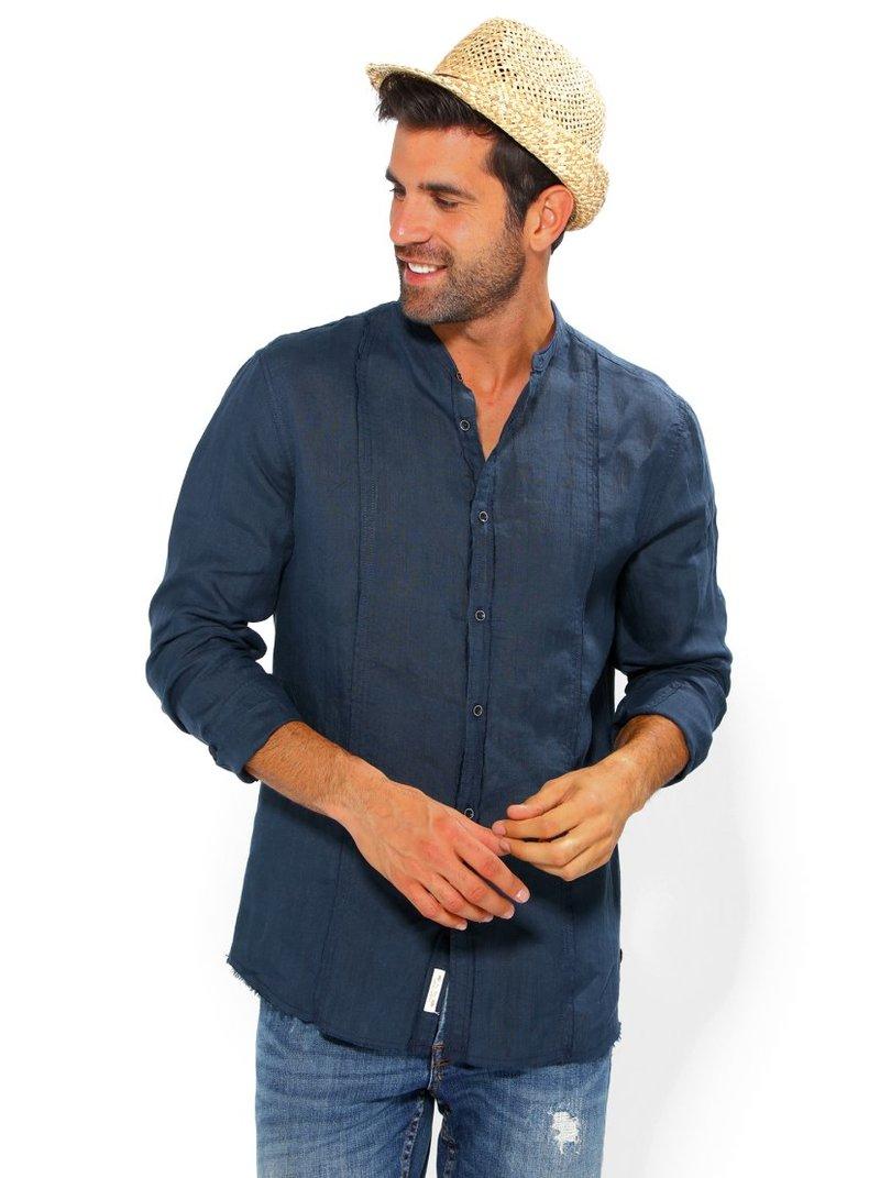 Camisa hombre lino cuello mao  100% ramio