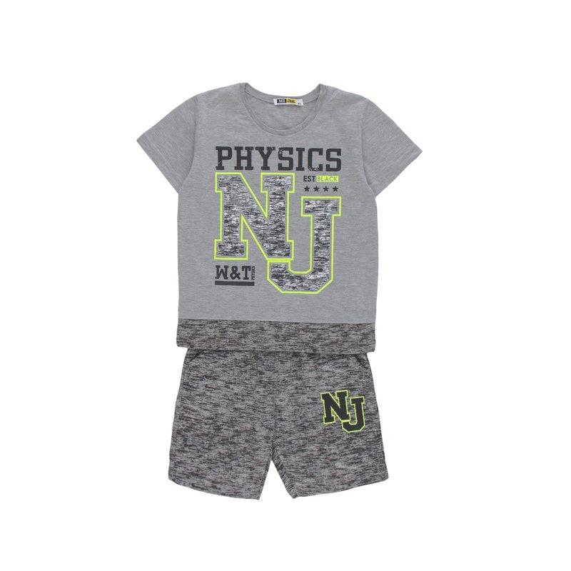 Conjunto niño camiseta efecto doble y pantalón