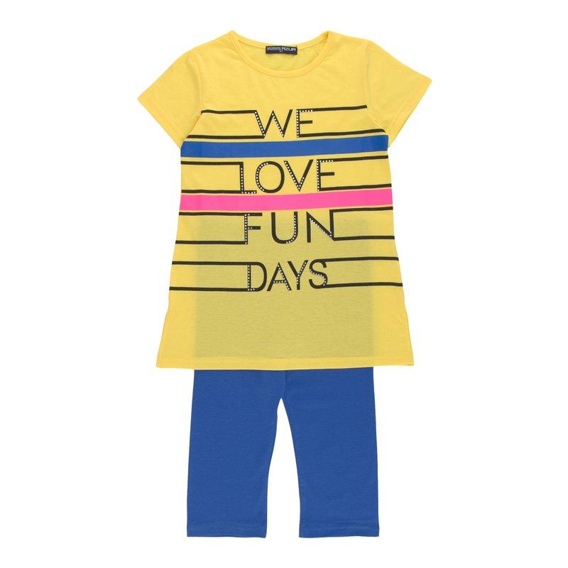 Conjunto niña camiseta larga con strass + legging