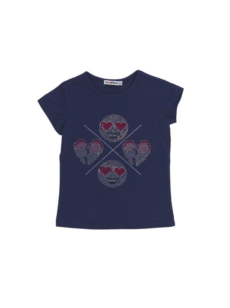 Camiseta de niña con emoticonos de strass brillante