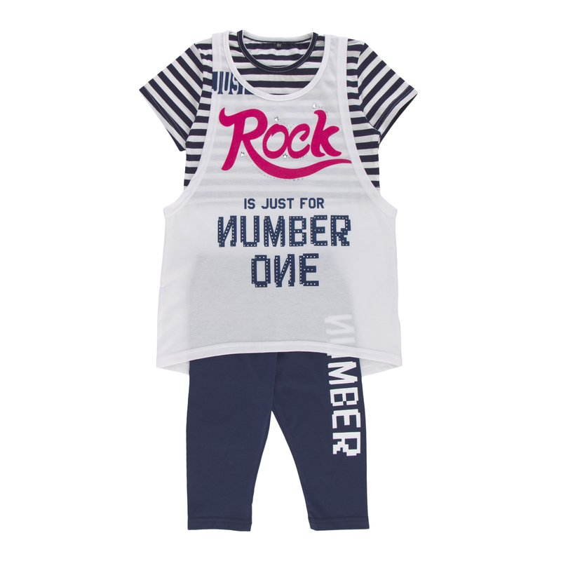 Conjunto de niña camiseta larga + top + legging