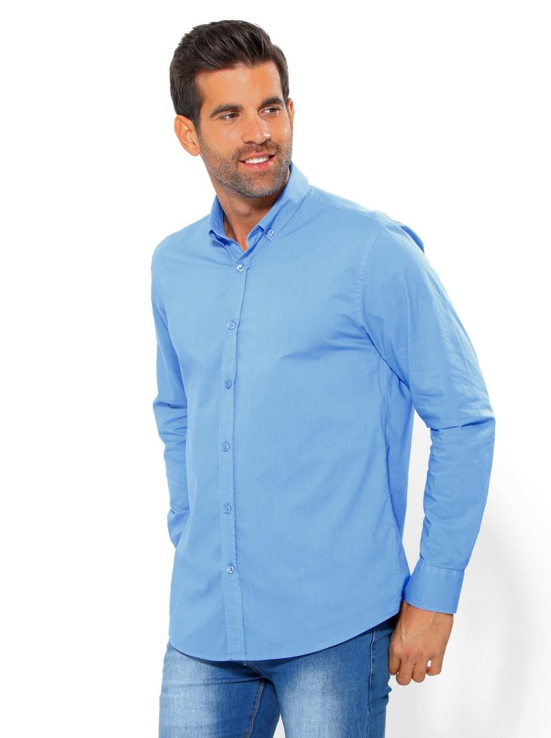 Camisa de hombre lisa manga larga con botones