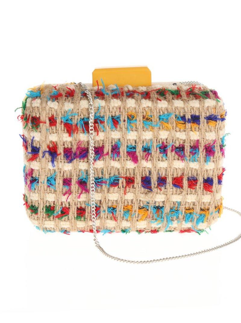 Bolso clutch de terciopelo y lanas multicolores