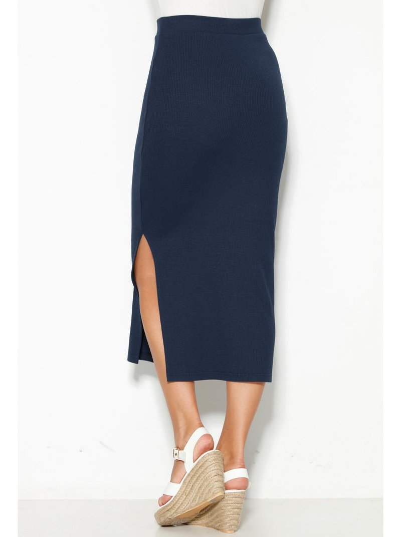 Falda midi con abertura lateral de punto canalé