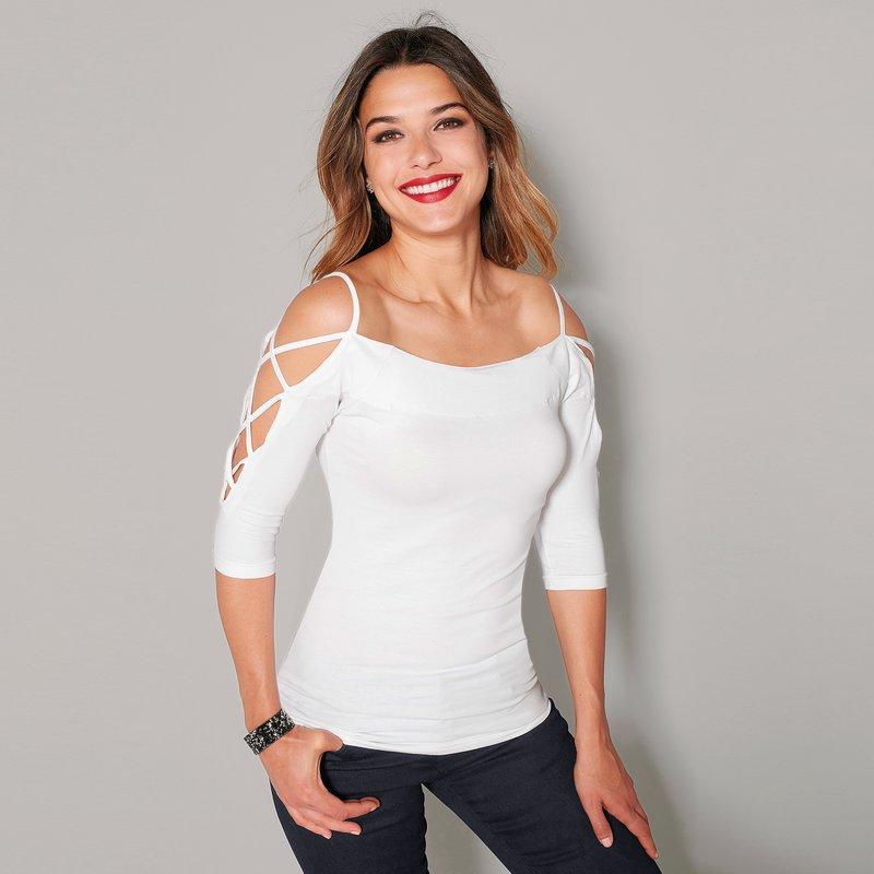 Camiseta escote barco y manga al codo tiras cruzadas