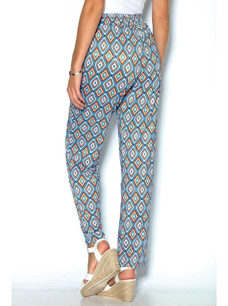 Pantalón largo recto con estampado geométrico