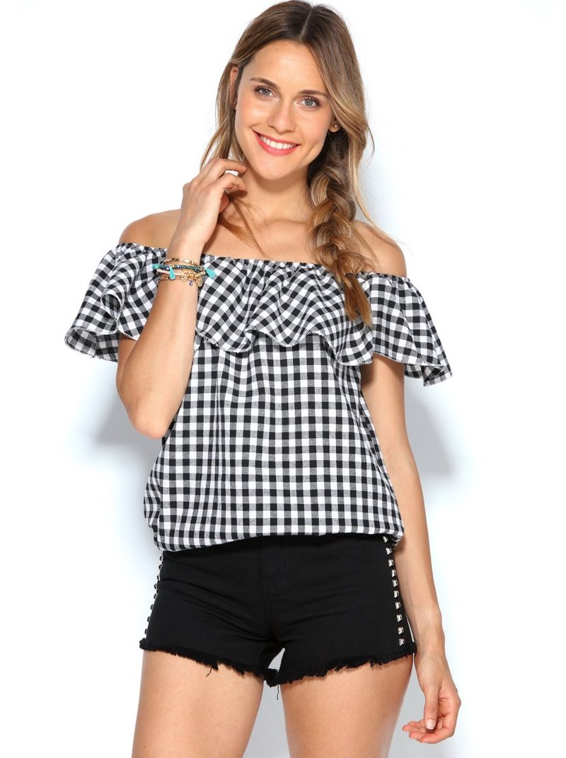Blusa mujer cuadro escote redondo con elástico