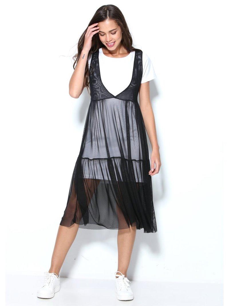 Vestido doble de tul elástico negro sin mangas