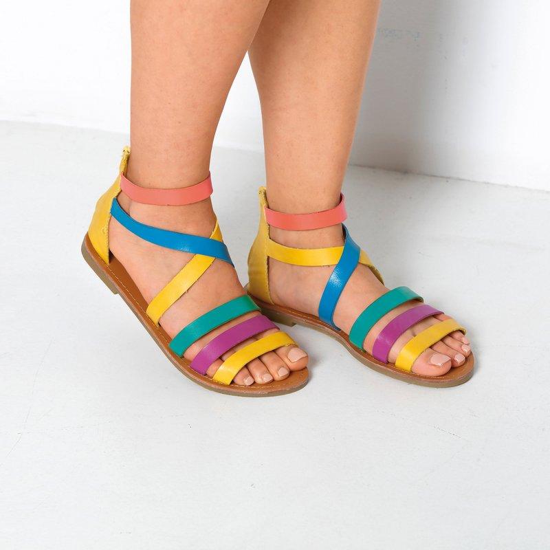 Sandalias planas romanas con tiras multicolores