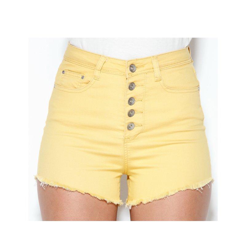 Pantalón short con botonadura metálica - Amarillo