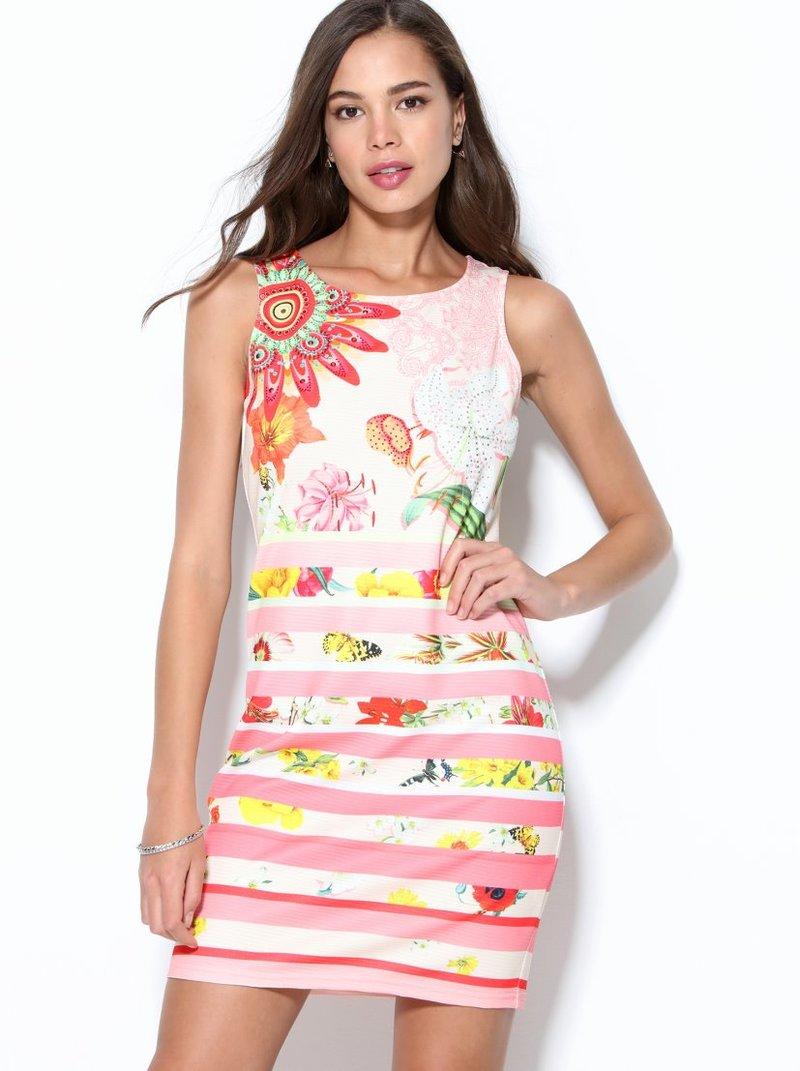 Vestido estampado floral y rayas con strass