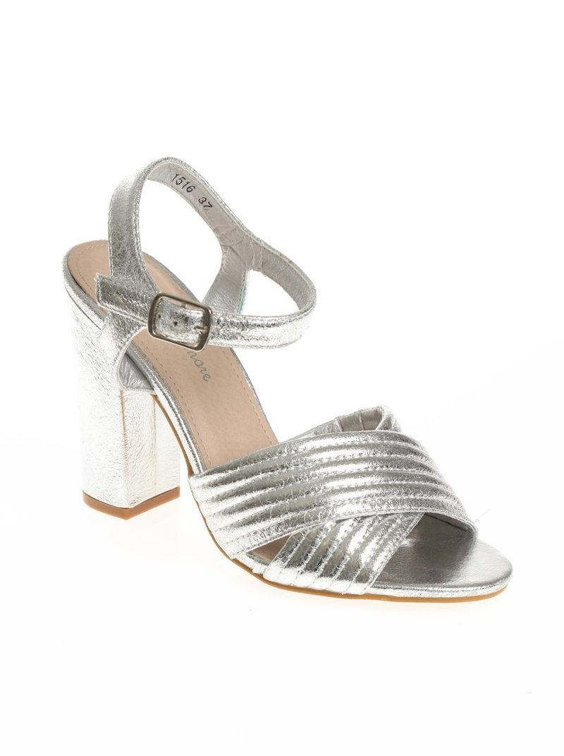 Sandalias de tacón con acabado metalizado