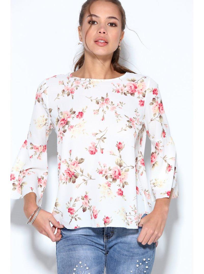 Blusa mujer estampada flores espalda en V con lazo y manga a