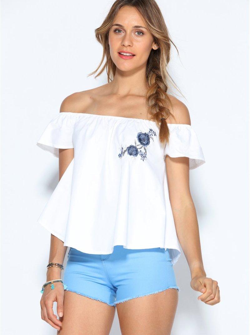 Blusa escote elástico y mini manga con bordado flores