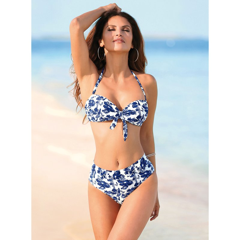 Bikini bandeau de braga alta con cinturilla