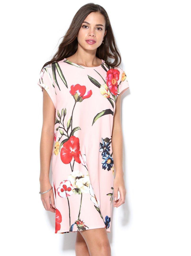 Vestido escote redondo mini manga floral