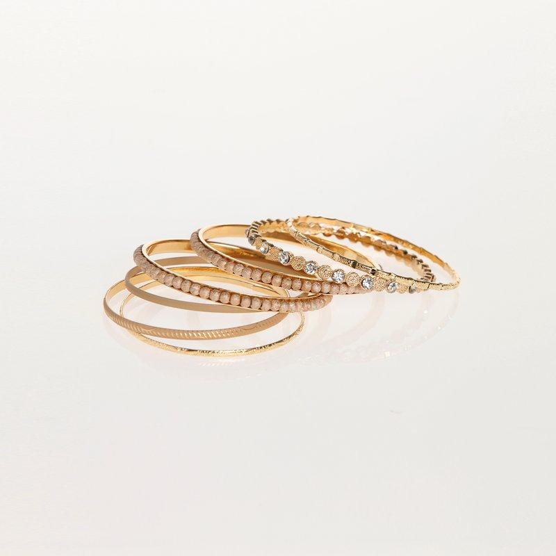 Set de 7 pulseras doradas y brillantes fantasía