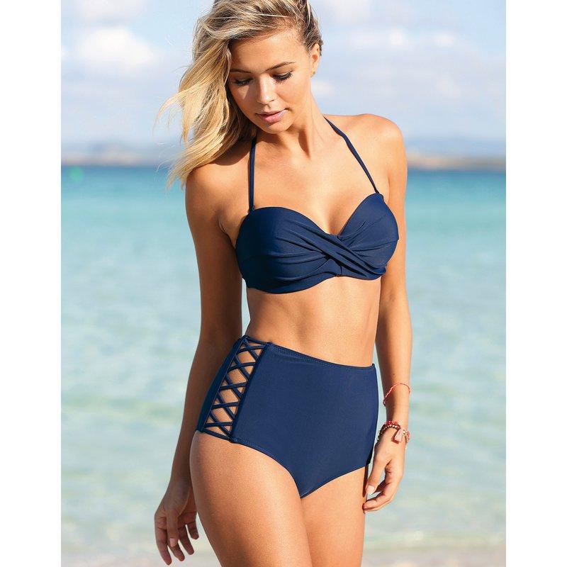 Bikini 2 piezas con sujetador liso y braga alta