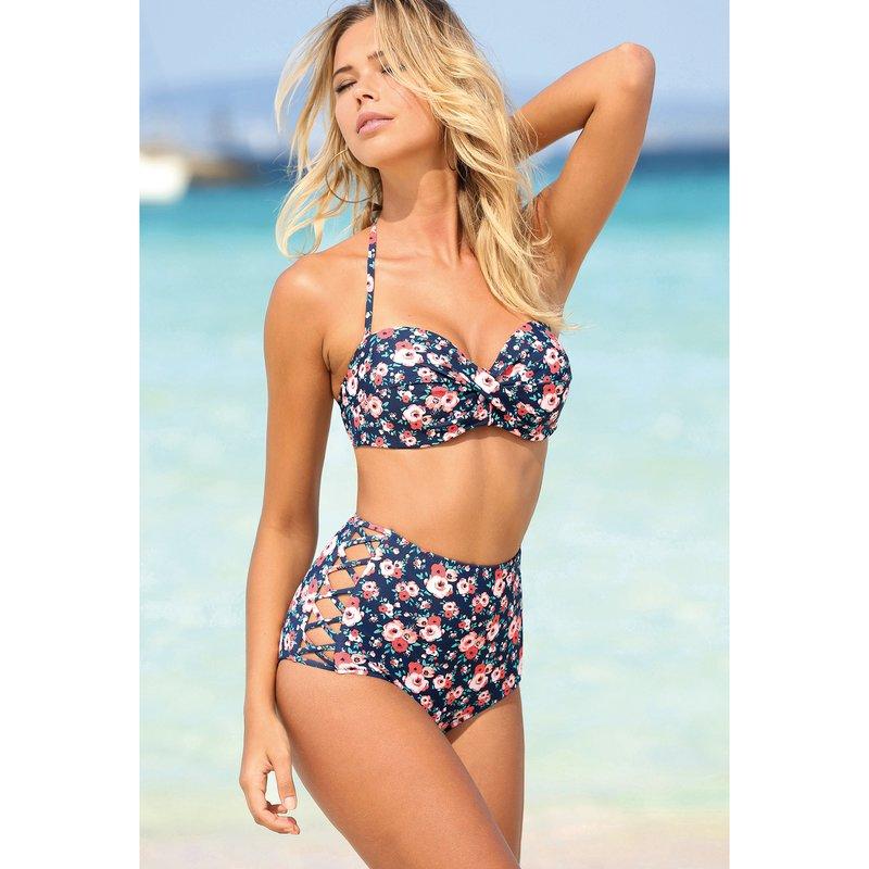 Bikini sujetador tirantes desmontables y braga alta