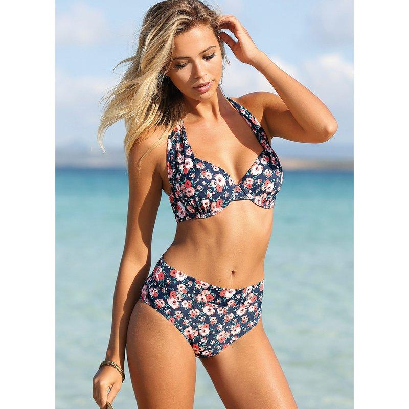 Bikini con estampado de flores de braga alta