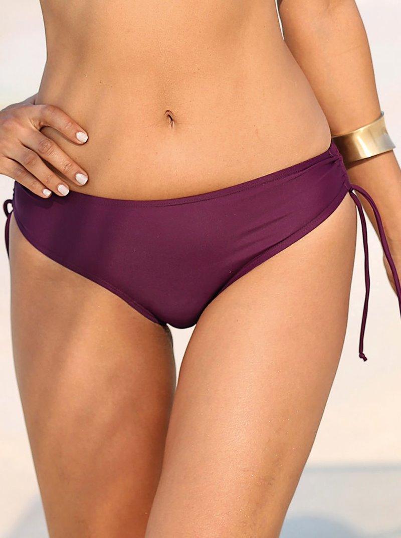 Braga de bikini lisa fruncida con lazos