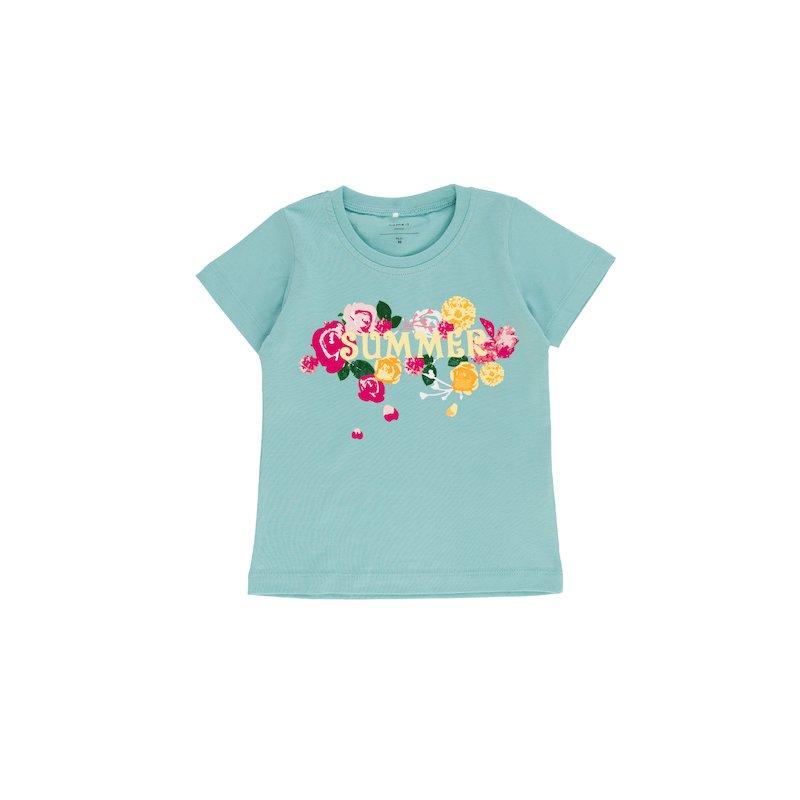 Camiseta niña con estampado frontal manga corta