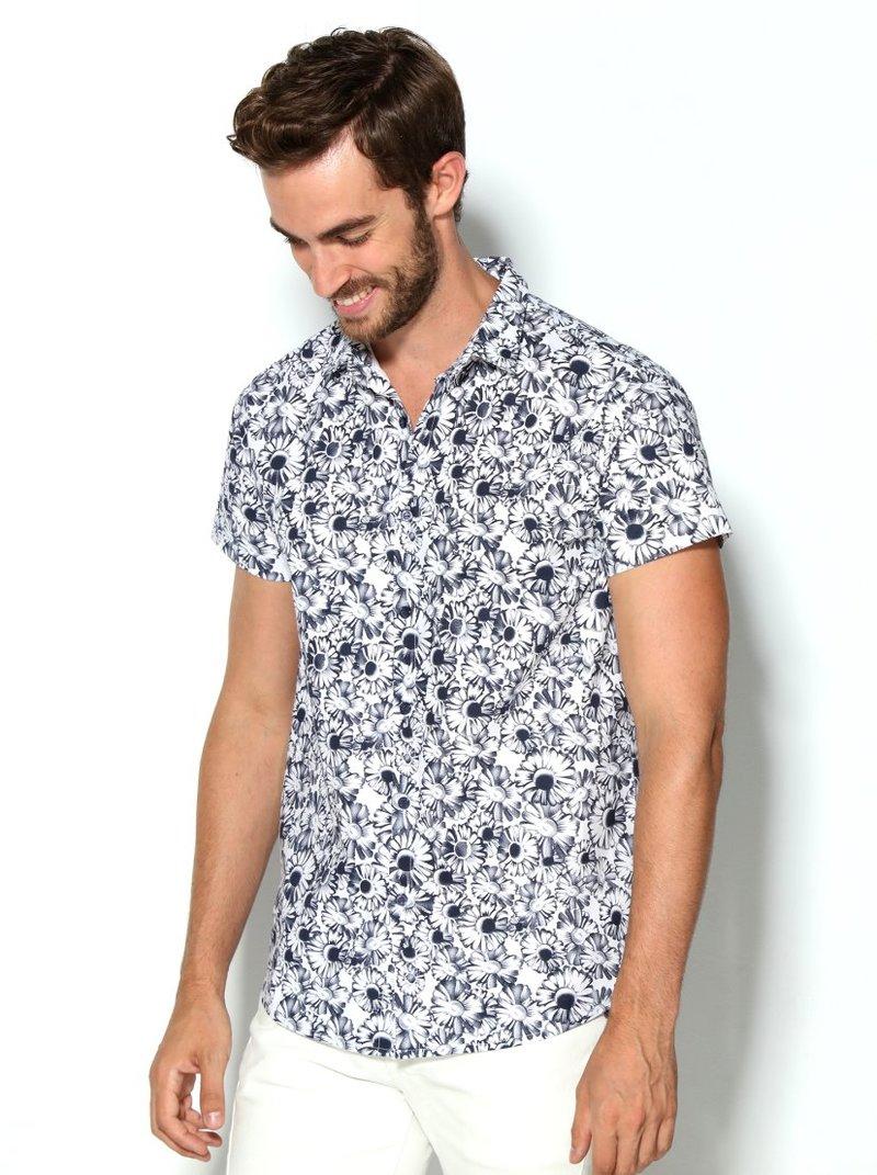 Camisa de hombre estampado flores bicolor