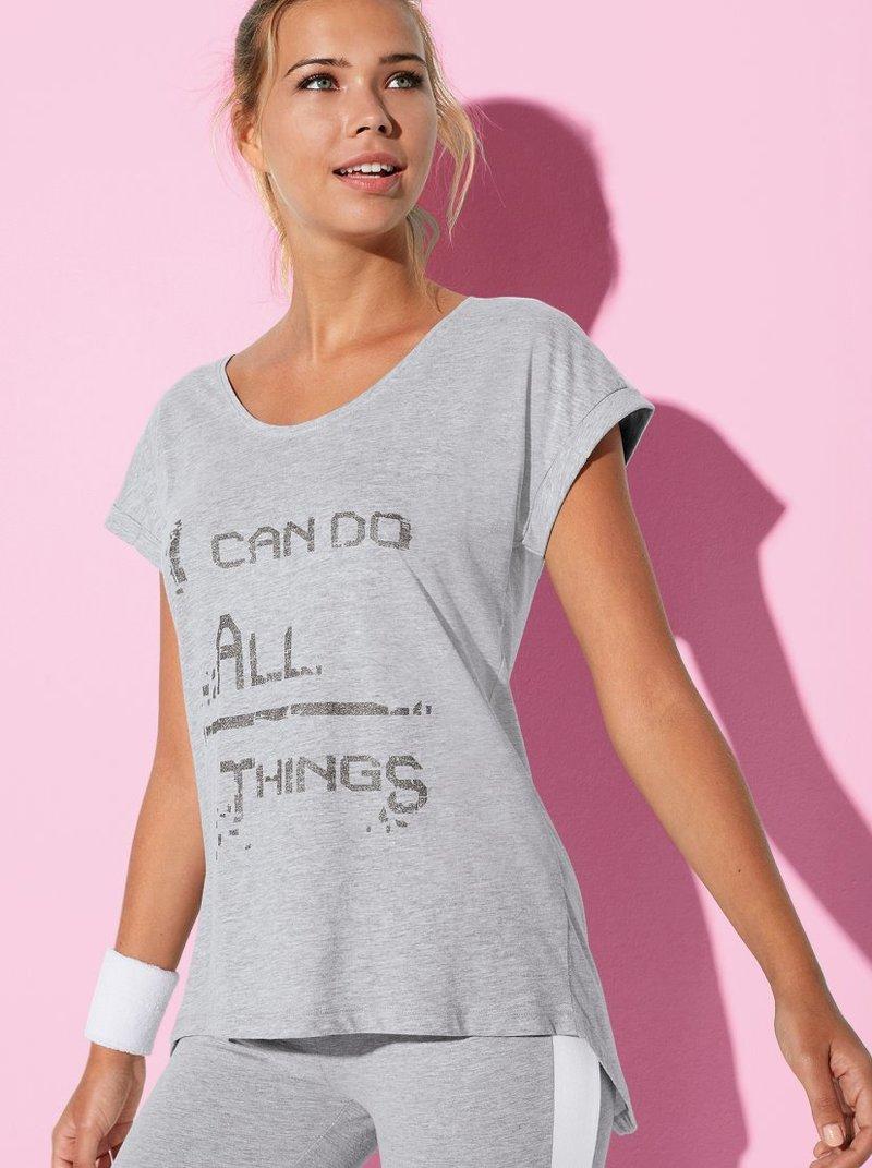 Camiseta manga corta caída con estampado metalizado